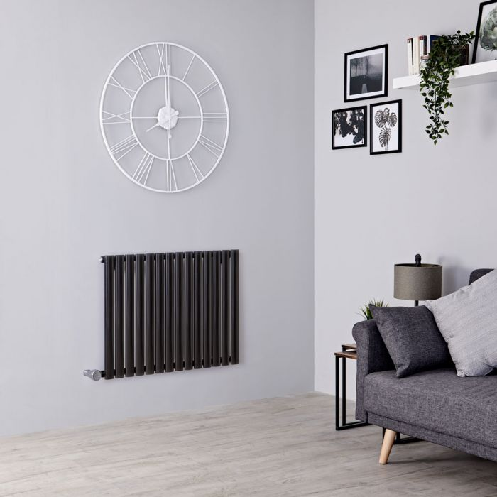 Milano Aruba Electric - Black Horizontal Designer Radiator - 635mm x 834mm