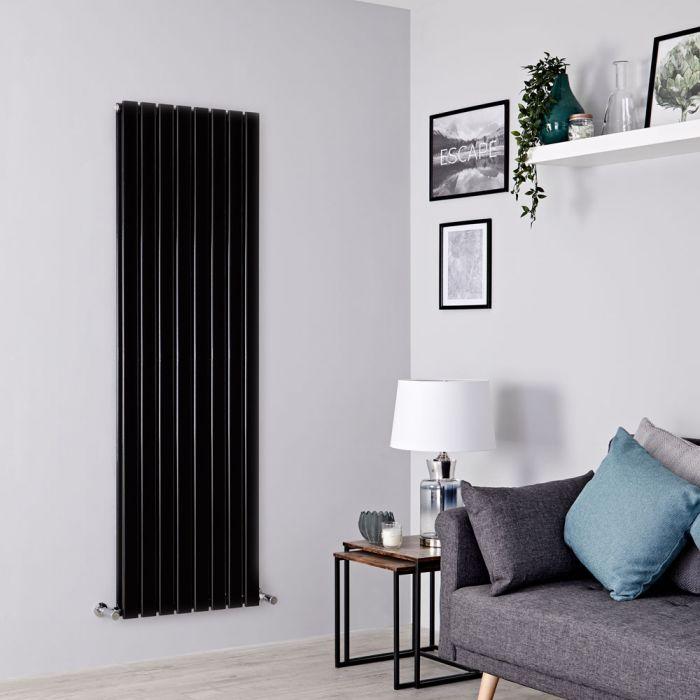 Milano Alpha - Black Flat Panel Vertical Designer Radiator - 1600mm x 560mm (Double Panel)