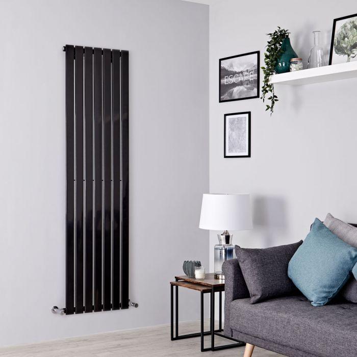 Milano Alpha - Black Flat Panel Vertical Designer Radiator - 1600mm x 490mm