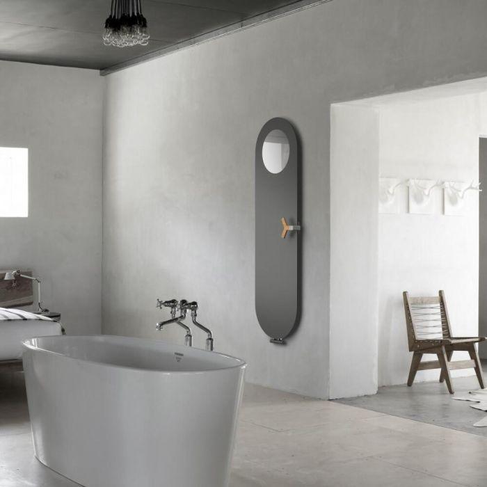 Lazzarini Way - Vulcano - Anthracite Vertical Designer Radiator - 1595 x 490mm with Mirror