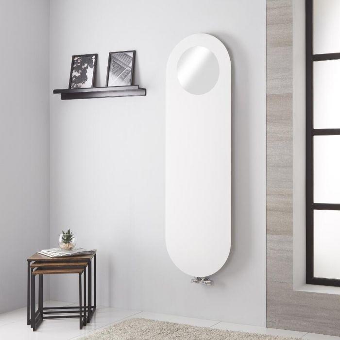 Lazzarini Way Vulcano - White Vertical Designer Radiator With Mirror - 1595mm x 495mm