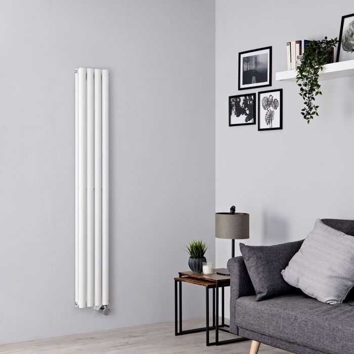 Milano Aruba Slim Electric - White Vertical Designer Radiator - 1600mm x 236mm (Double Panel)