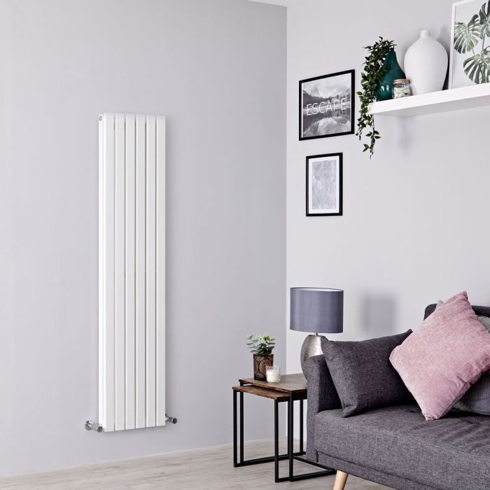 Milano Capri - White Flat Panel Vertical Designer Radiator - 1600mm x 354mm (Double Panel)