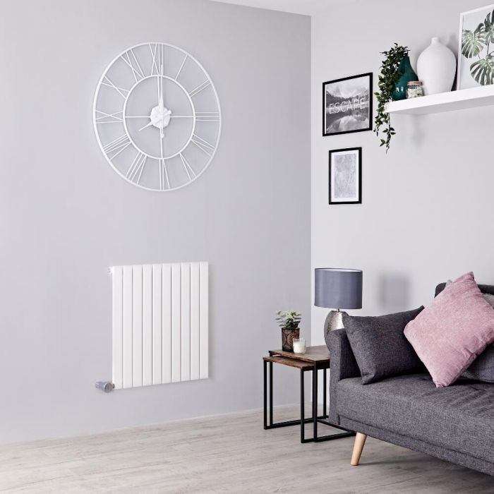 Milano Capri Electric - White Flat Panel Horizontal Designer Radiator - 635mm x 600mm