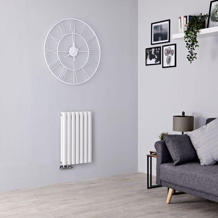 Milano Aruba Flow - White Horizontal Middle Connection Designer Radiator - 635mm x 415mm (Double Panel)