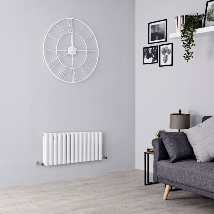 Milano Aruba - White Horizontal Designer Radiator - 400mm x 834mm (Double Panel)