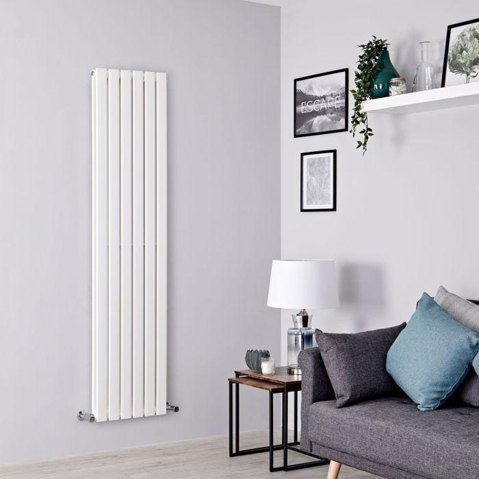 Milano Alpha - White Flat Panel Vertical Designer Radiator - 1600mm x 420mm (Double Panel)