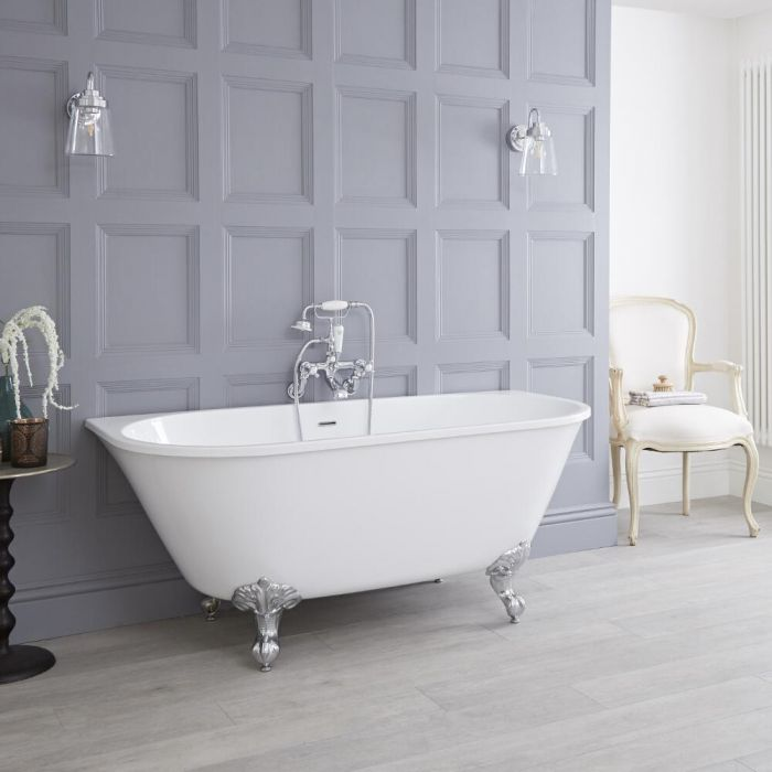 Milano Carlton - White Traditional Freestanding Bath with Choice of Feet - 1550mm x 750mm