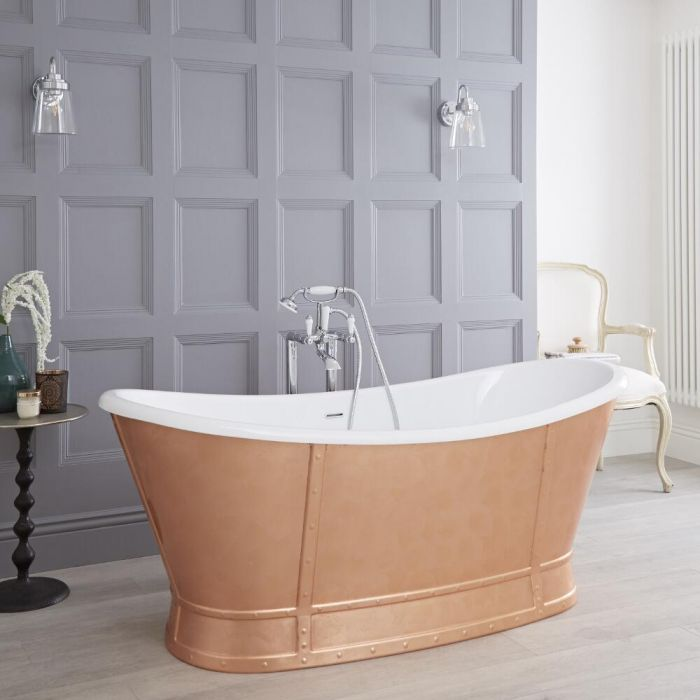 Milano Cartmel - Copper Traditional Double-Ended Freestanding Slipper Bath - 1680mm x 780mm (No Tap-Holes)