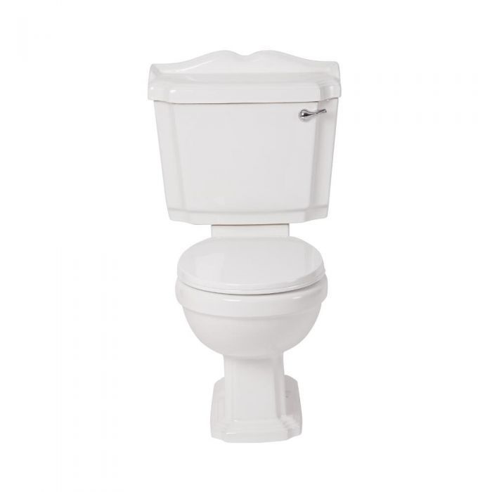 Milano Legend - White Traditional Close Coupled Toilet with Cistern and Wooden Seat