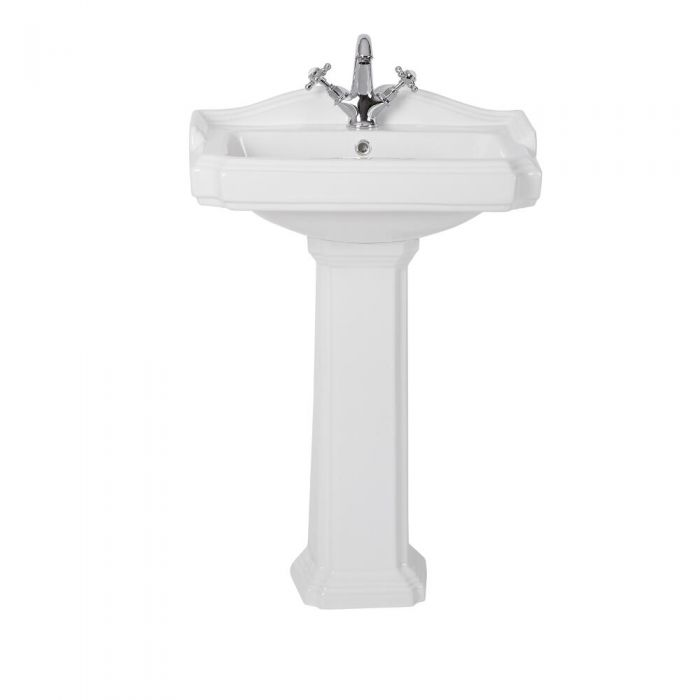 Milano Windsor - Traditional 1 Tap-Hole Basin with Full Pedestal - 600mm