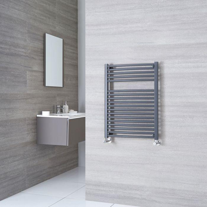 Milano Brook - Anthracite Flat Heated Towel Rail - 800mm x 600mm
