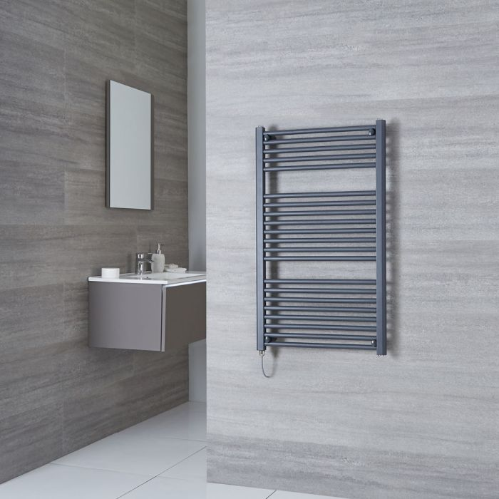 Milano Brook Electric - Anthracite Flat Heated Towel Rail - 1000mm x 600mm