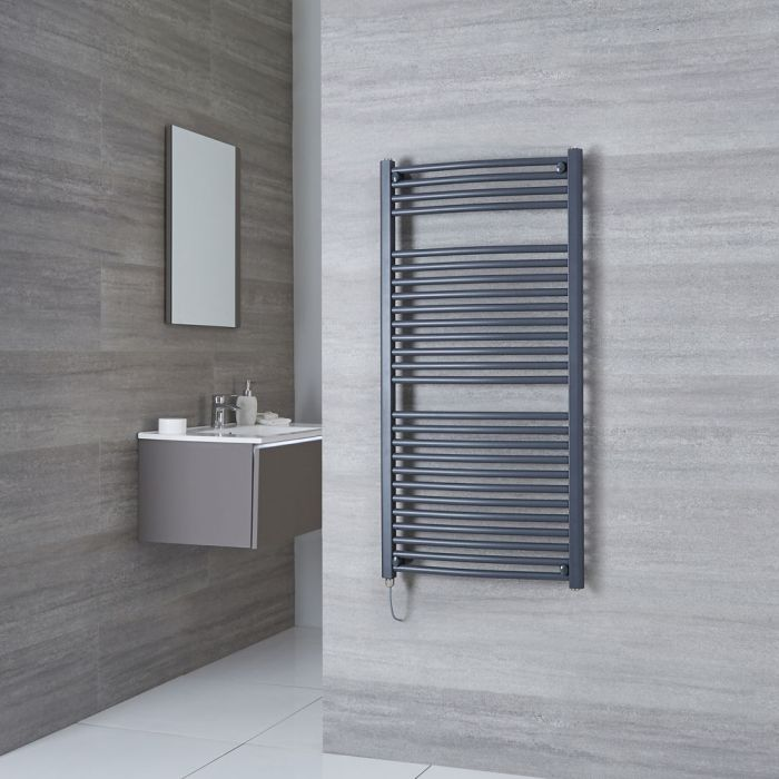 Milano Brook Electric - Anthracite Curved Heated Towel Rail - 1200mm x 600mm