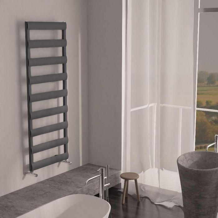 Milano Passo - Aluminium Anthracite Designer Heated Towel Rail - 1590mm x 500mm