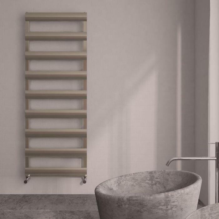 Milano Passo - Aluminium Brushed Chrome Designer Heated Towel Rail - 1590mm x 500mm