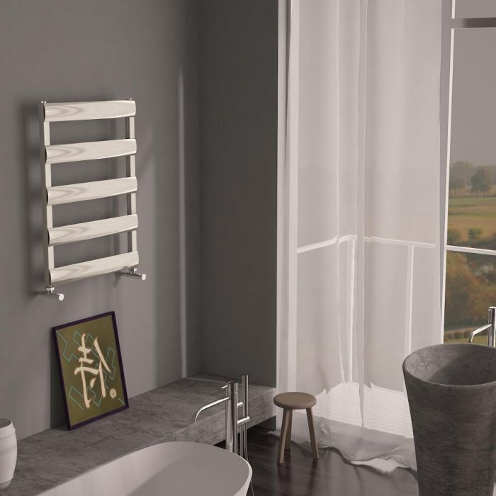 Milano Passo - Aluminium Brushed Chrome Designer Heated Towel Rail - 790 x 500mm
