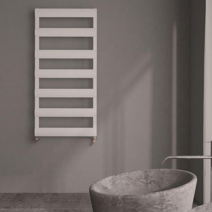 Milano Passo - Aluminium White Designer Heated Towel Rail - 1190 x 500mm
