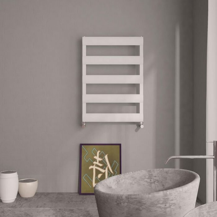 Milano Passo - Aluminium White Designer Heated Towel Rail - 790 x 500mm
