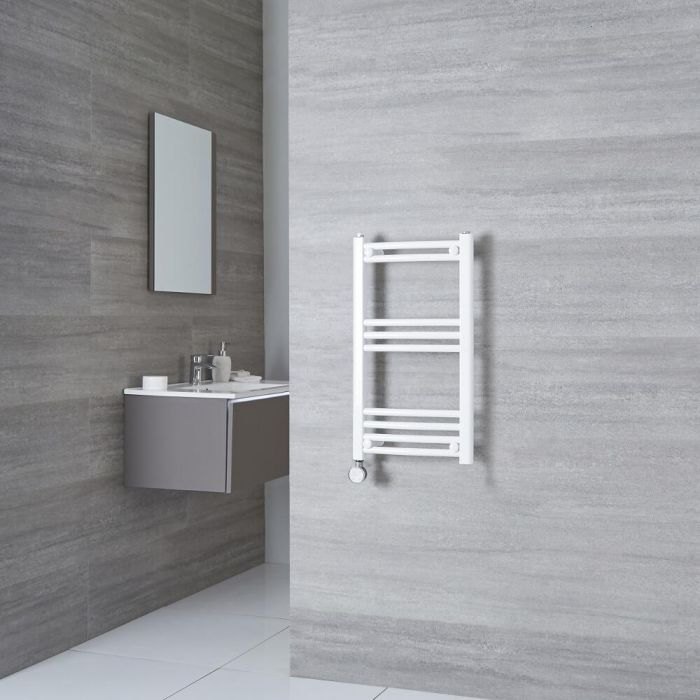 Milano Calder Electric - White Curved Heated Towel Rail - 700mm x 400mm