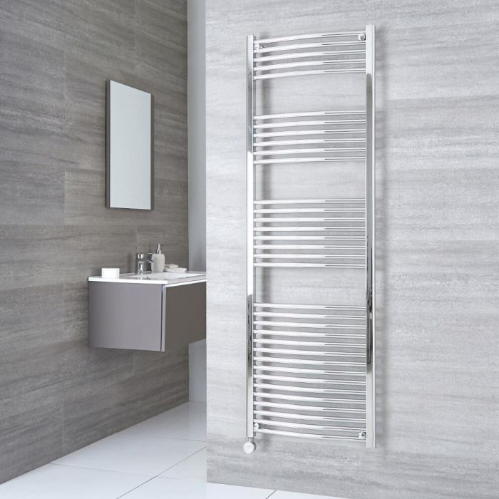 Milano Ribble Electric - Chrome Curved Heated Towel Rail - 1800mm x 500mm