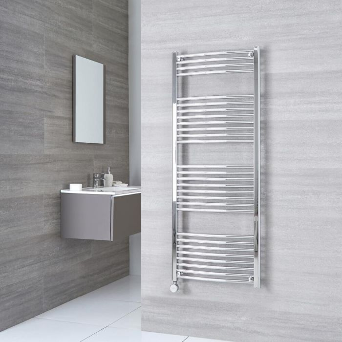 Milano Ribble Electric - Chrome Curved Heated Towel Rail - 1500mm x 600mm