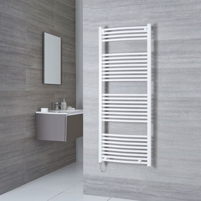 Milano Calder Electric - White Curved Heated Towel Rail - 1500mm x 600mm