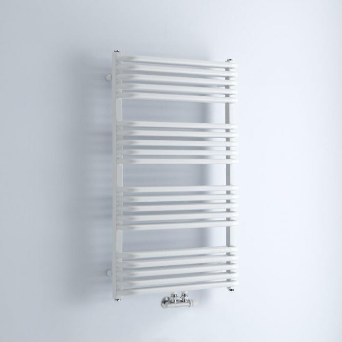 Milano Bow - White D-Bar Heated Towel Rail - 1000mm x 600mm