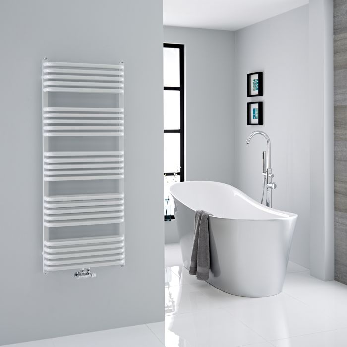 Milano Bow - White D-Bar Heated Towel Rail - 1269mm x 500mm