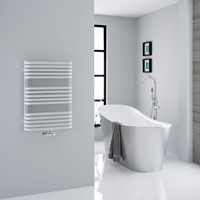 Milano Bow - White D-Bar Heated Towel Rail - 736mm x 500mm