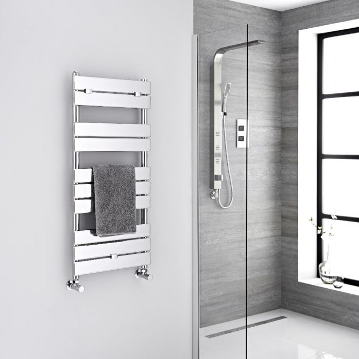 Milano Lustro - Chrome Flat Panel Designer Heated Towel Rail - 1000mm x 450mm
