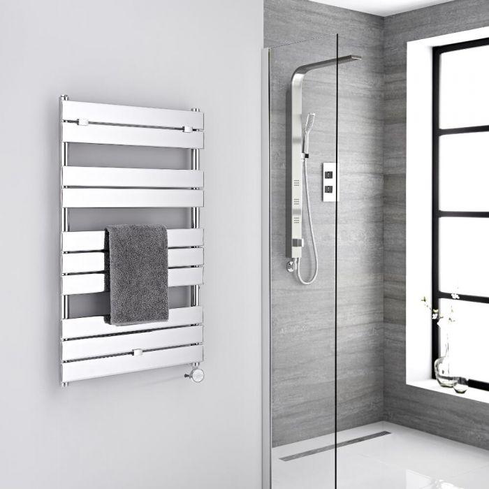 Milano Lustro Electric - Chrome Flat Panel Designer Heated Towel Rail - 1000mm x 600mm