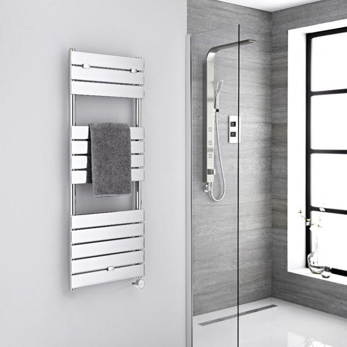 Milano Lustro Electric - Chrome Flat Panel Designer Heated Towel Rail - 1213mm x 450mm
