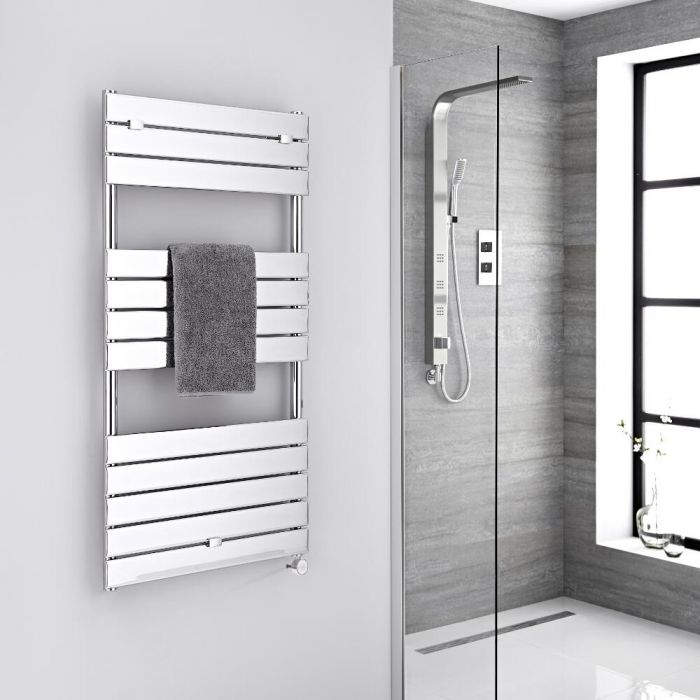 Milano Lustro Electric - Chrome Flat Panel Designer Heated Towel Rail - 1213mm x 600mm