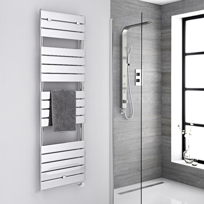 Milano Lustro Electric - Chrome Flat Panel Designer Heated Towel Rail - 1512mm x 450mm
