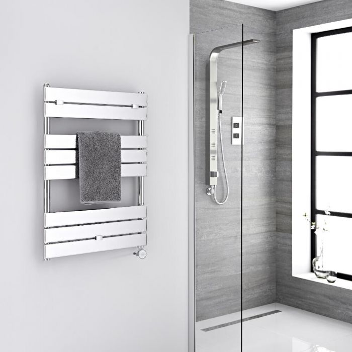 Milano Lustro Electric - Chrome Flat Panel Designer Heated Towel Rail - 840mm x 600mm