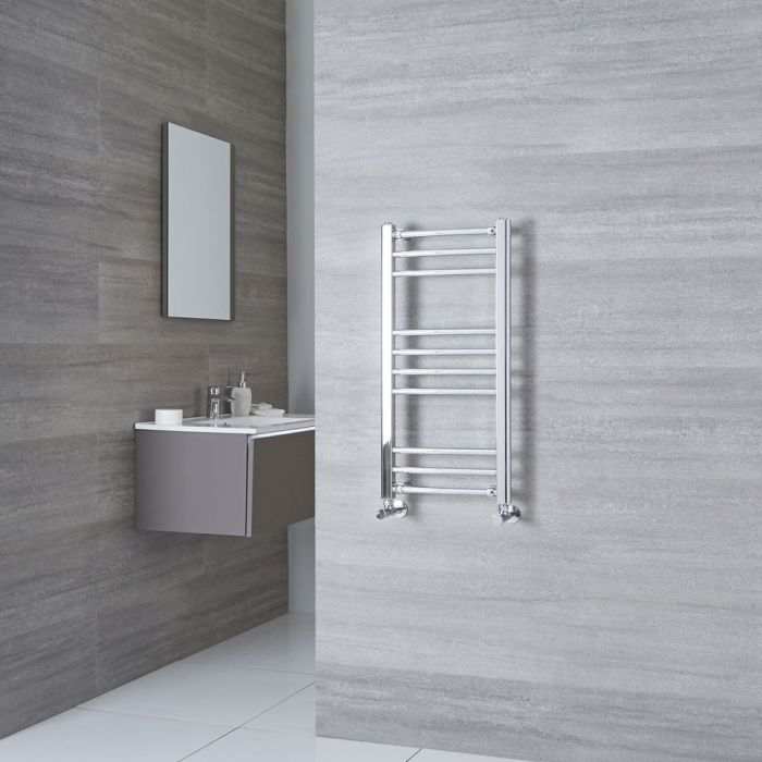 Milano Eco - Chrome Curved Heated Towel Rail - 800mm x 400mm