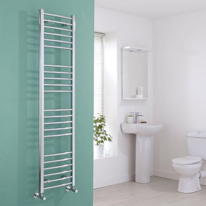 Milano Eco - Chrome Curved Heated Towel Rail - 1600mm x 400mm