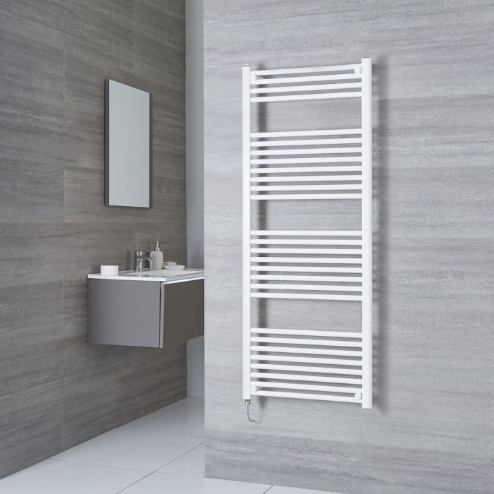 Milano Calder Electric - White Flat Heated Towel Rail - 1500mm x 600mm