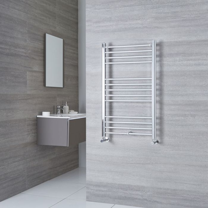 Milano Eco - Chrome Flat Heated Towel Rail - 1000mm x 600mm