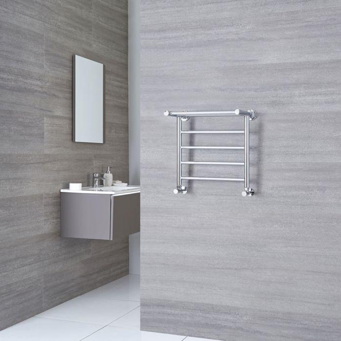 Milano Pendle - Chrome Heated Towel Rail with Heated Shelf - 494mm x 532mm
