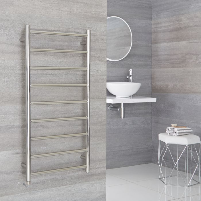 Milano Esk Electric - Stainless Steel Flat Heated Towel Rail - 500mm x 1000mm