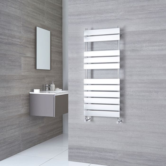 Kudox Signelle - Chrome Plated Flat Panel Designer Heated Towel Rail - 1200mm x 500mm