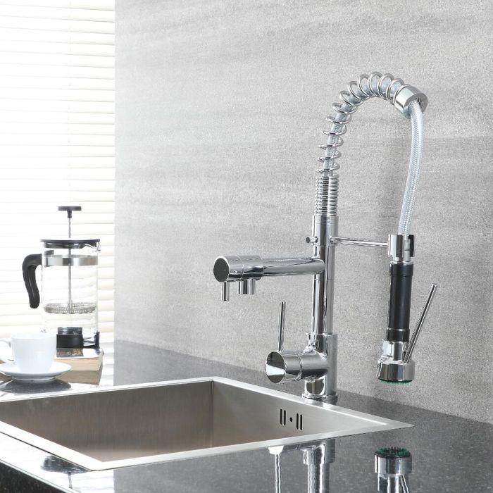 Milano Mirage - Modern Deck Mounted Pull Out Kitchen Mixer Spray Tap - Chrome
