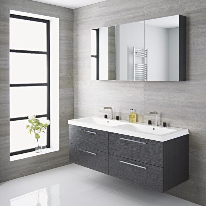 Milano Linley 1400mm Double Vanity Unit Grey