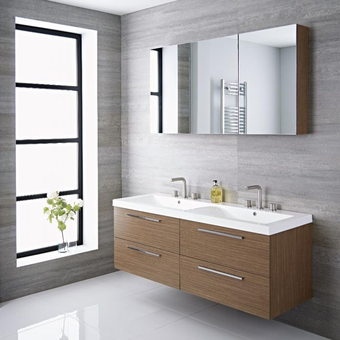 Milano Linley - Oak Modern 1440mm Double Wall Hung Vanity Unit with Basins (0, 1, 2 or 3 Tap-Holes)