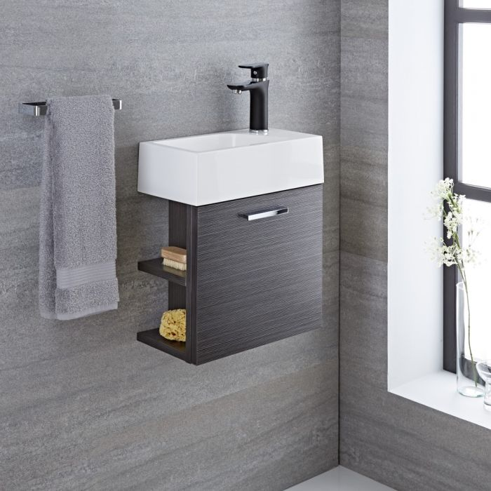 Milano Linley - 400mm Cloakroom Vanity Unit - Grey