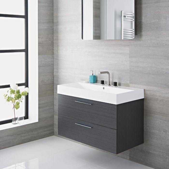Milano Linley - Grey Modern 900mm Wall Hung Vanity Unit with Basin (0, 1, 2 or 3 Tap-Holes)