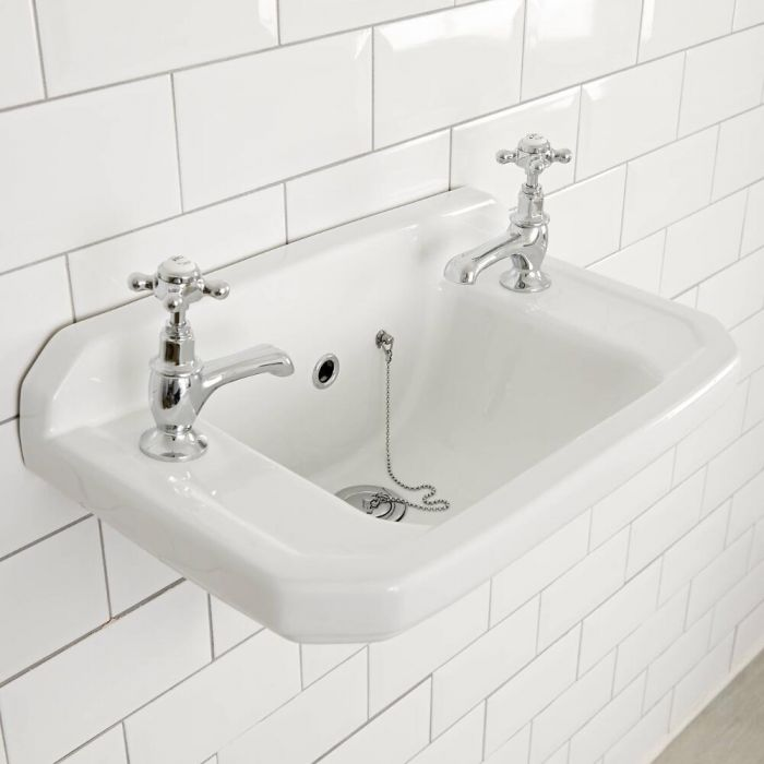 Milano Carlton - White Traditional Square Wall Hung Cloakroom Basin - 515mm x 300mm (2 Tap-Holes)
