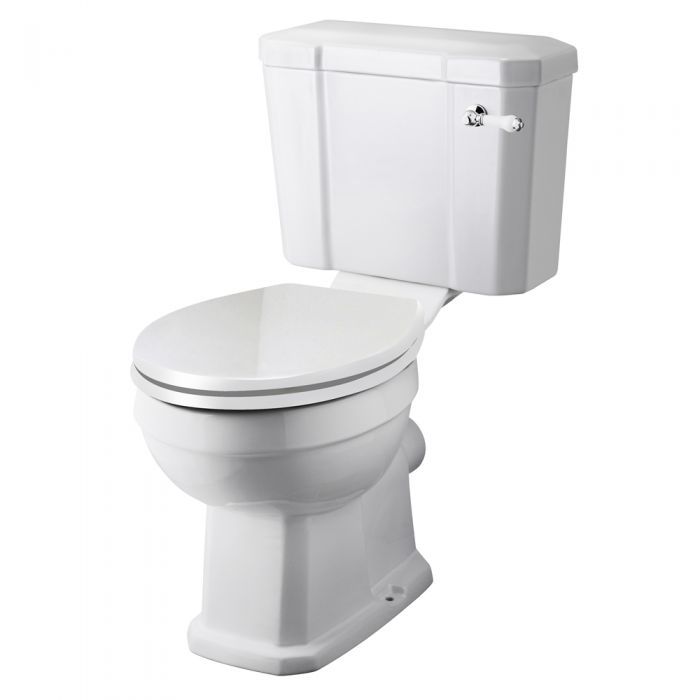 Milano - White Traditional Close Coupled Toilet with Cistern and Soft Close Seat - 820mm x 470mm